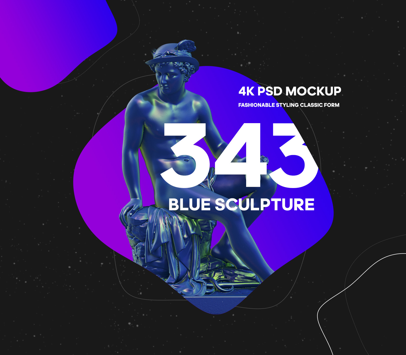 Collection of 343 Sculptures in Blue style # 11 for branding and design of your product