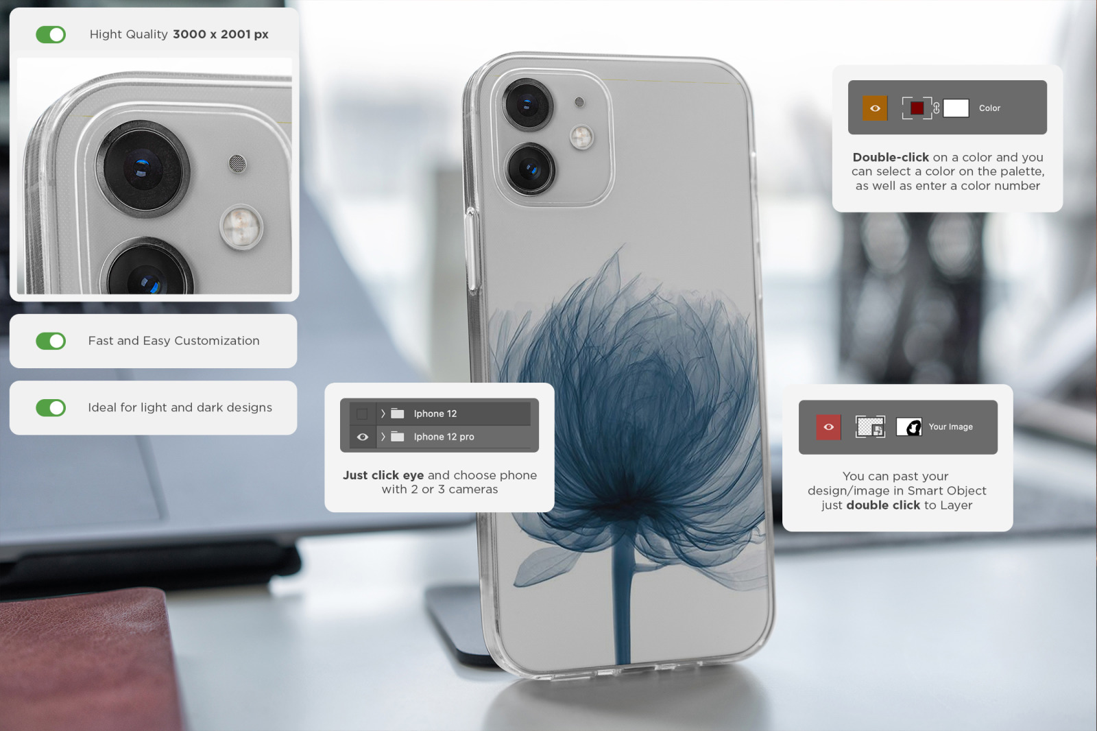 iPhone 12/Pro Clear Case MockUp