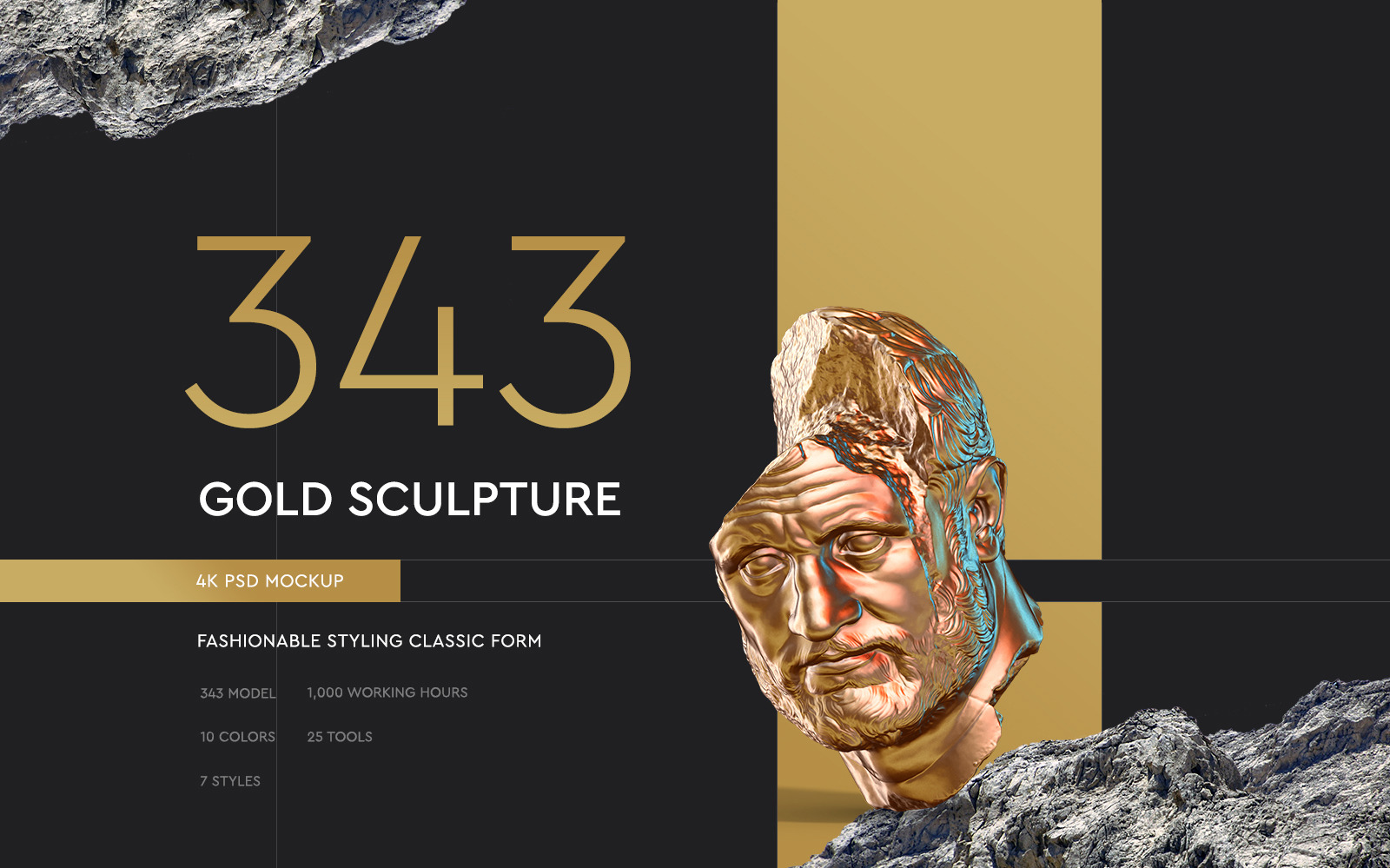 Collection of 343 Sculptures in Gold style # 13 for branding and design of your product
