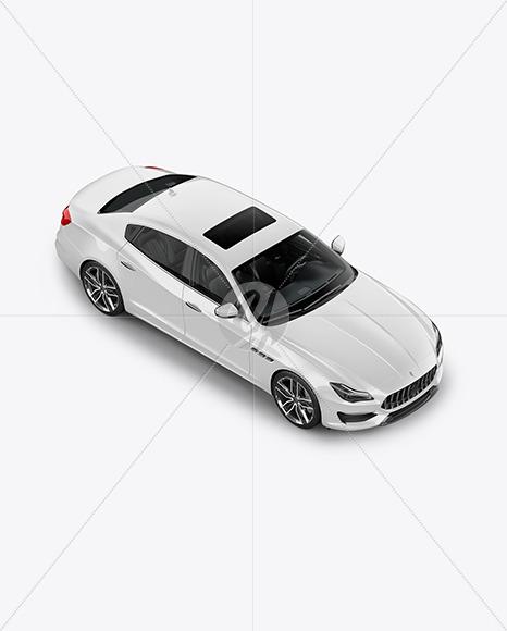 Luxury Sedan Mockup - Half Side View (High Angle Shot) - Yellowimages Mockups