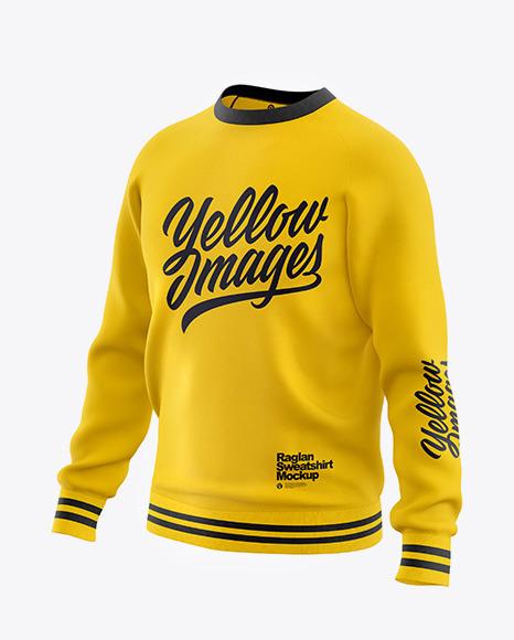 Men's Raglan Sweatshirt Mockup - Front Half Side View