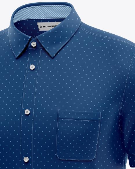 Men's Short Sleeve Shirt Mockup - Half Side View