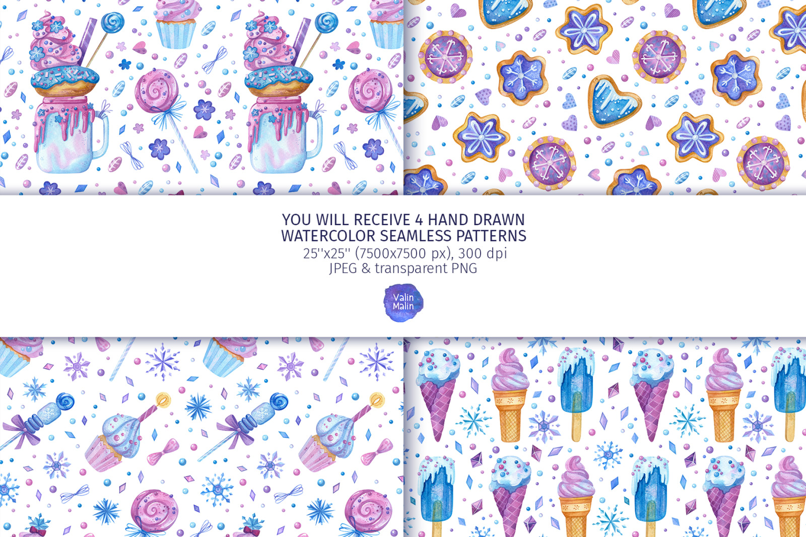 Baking clipart. Seamless patterns for birthday candy bar decoration, for planner stickers.