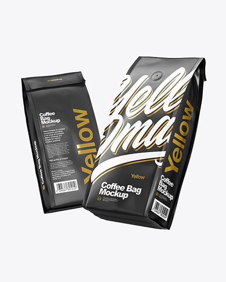 Two Matte Coffee Bag Packaging Mockup
