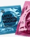 Two Glossy Metallic Condom Packaging Mockup