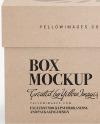 Kraft Cardboard Box with Label Mockup