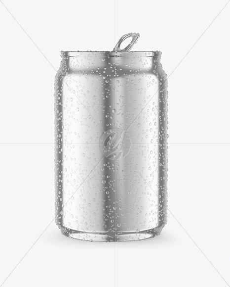 250ml Metallic Drink Can With Condensation Mockup