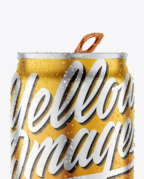 250ml Matte Metallic Drink Can With Condensation Mockup
