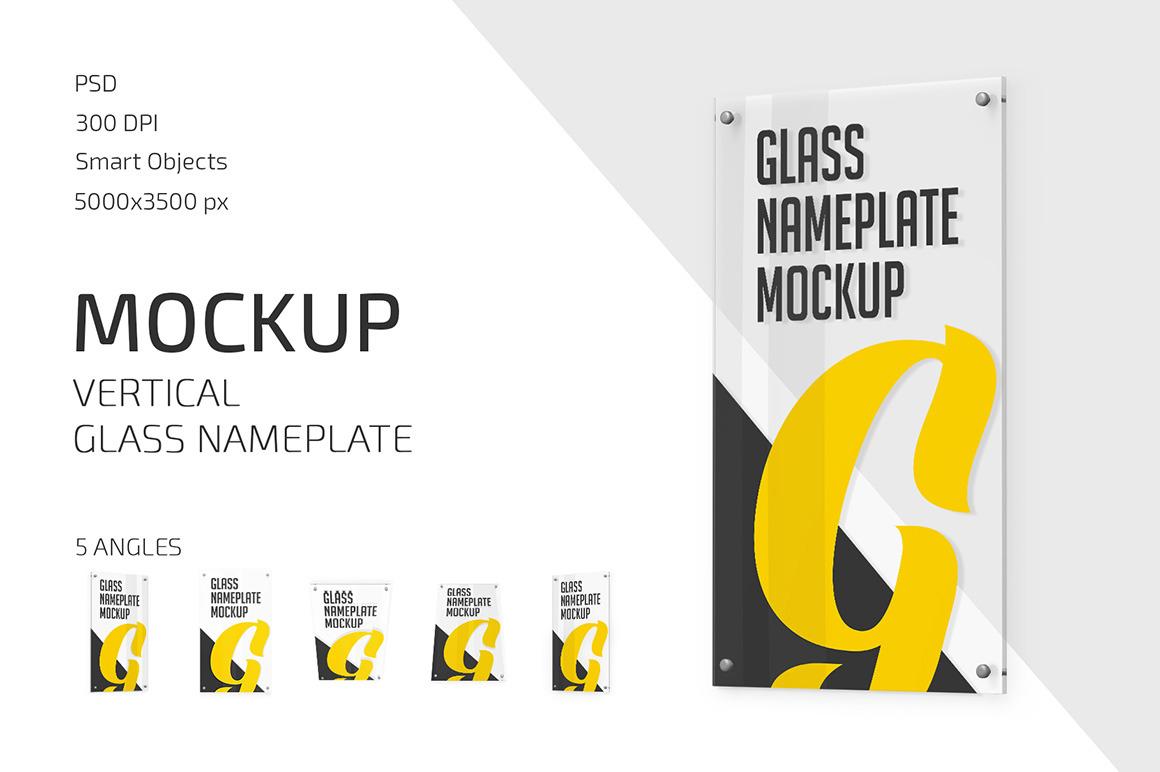 Vertical Glass Nameplate Mockup Set