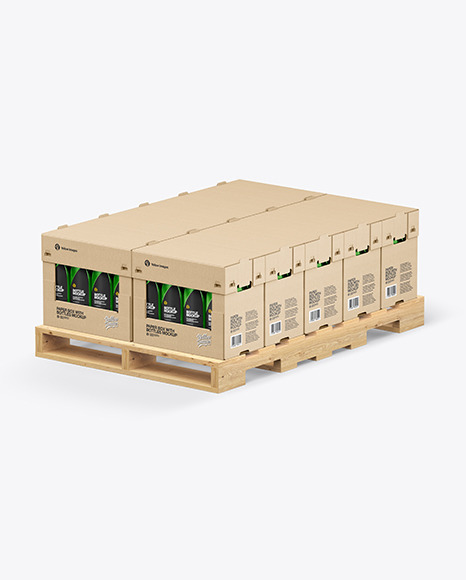 Wooden Pallet with Glossy Bottles in Paper Boxes