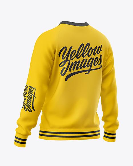 Men's Raglan Sweatshirt Mockup - Back Half Side View