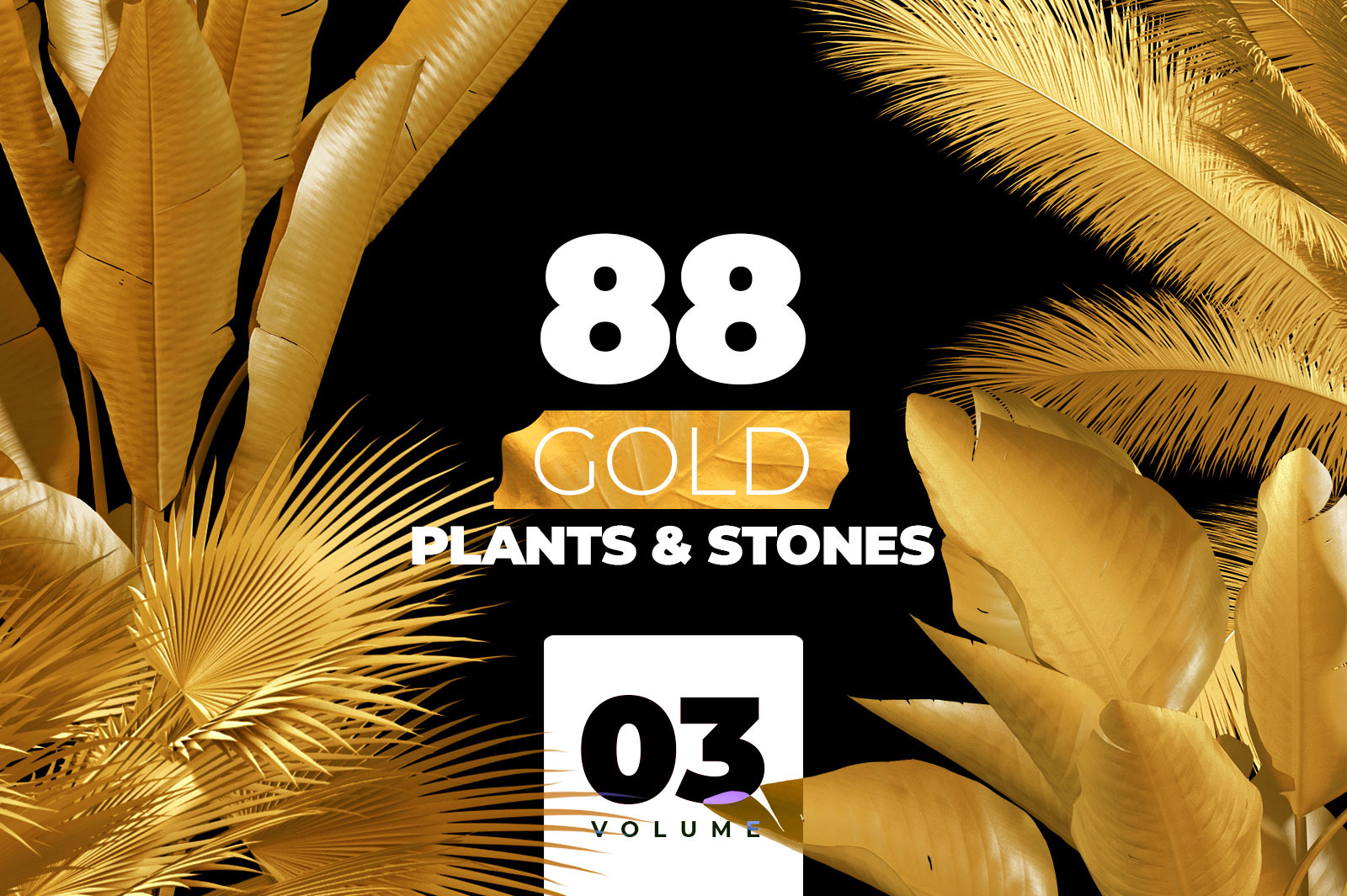 GOLD plants & stones collection #03