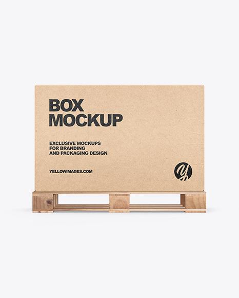Pallet W/ Kraft Box Mockup