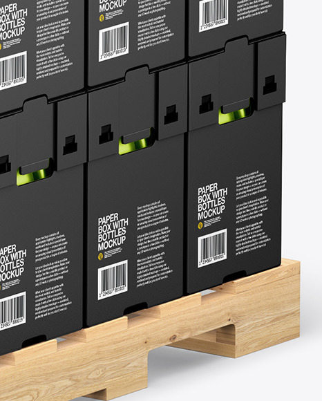 Wooden Pallet with Metallic Bottles in Paper Boxes