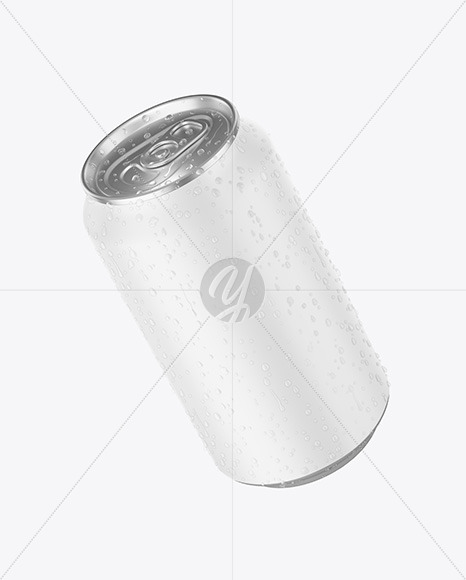 Aluminium Can With Water Drops & Matte Finish Mockup