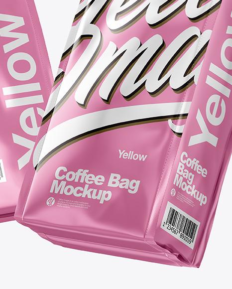 Two Matte Metallic Coffee Bag Packaging Mockup