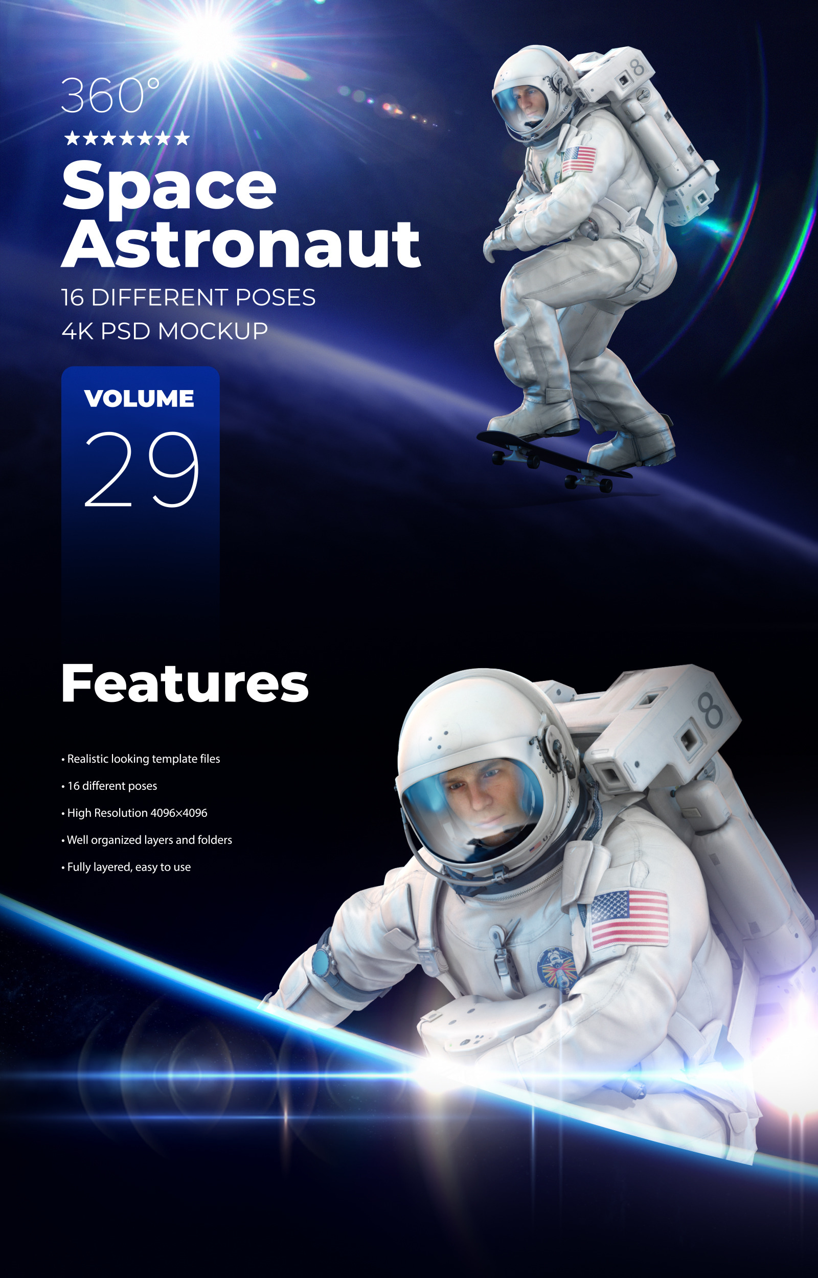 3D Mockup Space Astronaut #29