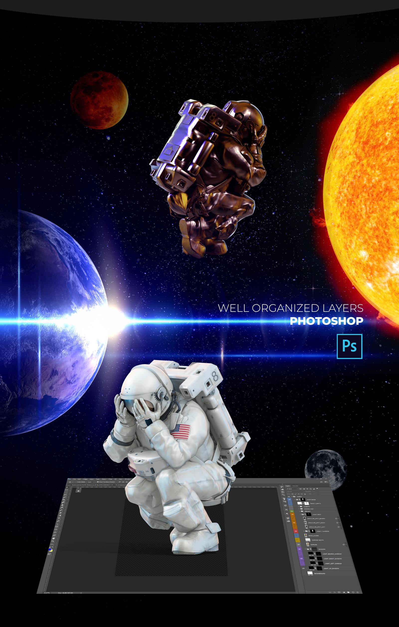 3D Mockup Space Astronaut #22