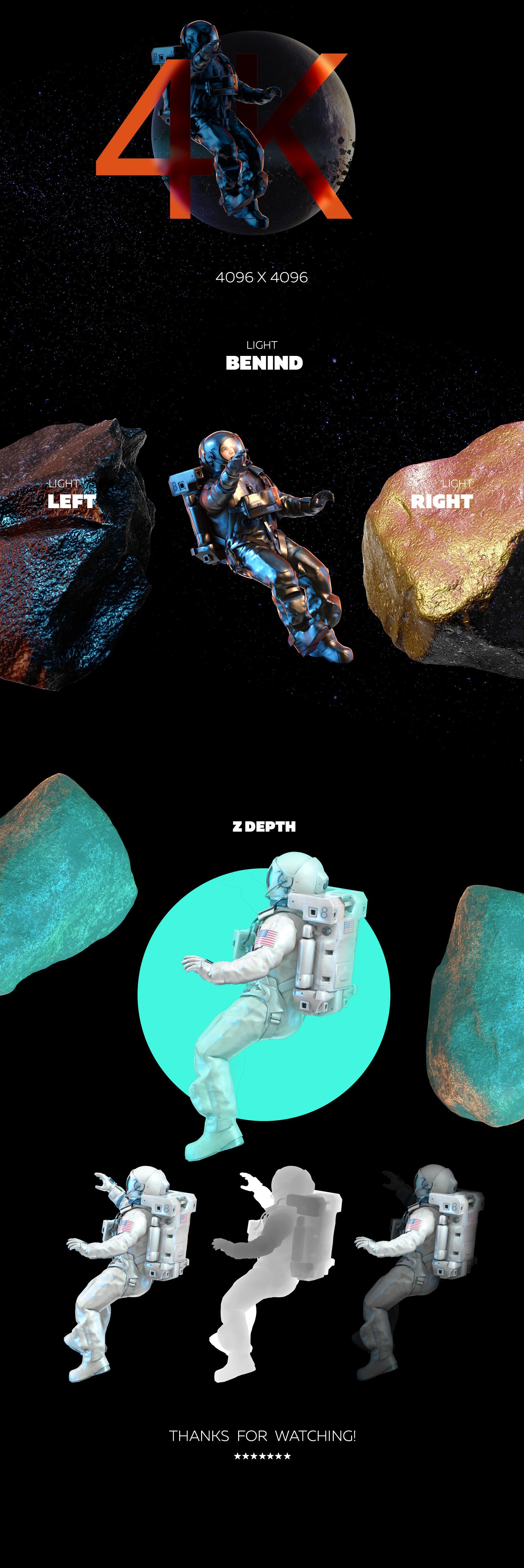 3D Mockup Space Astronaut #09
