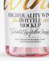 Clear Glass Pink Wine Bottle Mockup