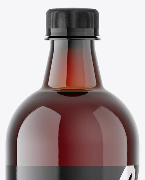 Amber Plastic Beer Bottle Mockup