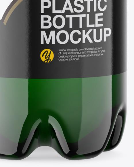 Green Plastic Beer Bottle Mockup