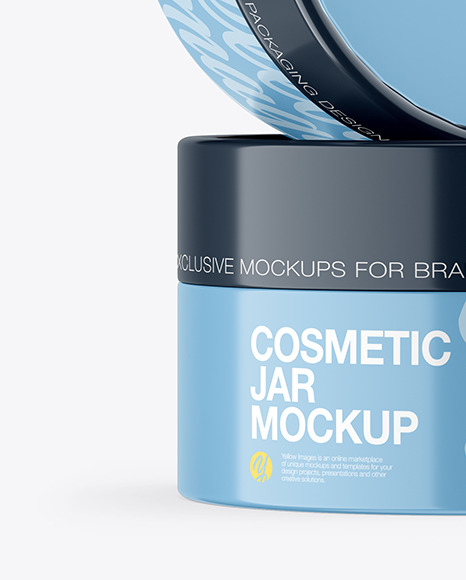Glossy Cosmetic Jars Mockup