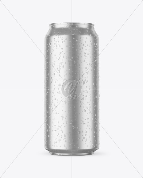 Aluminium Can With Water Drops Mockup