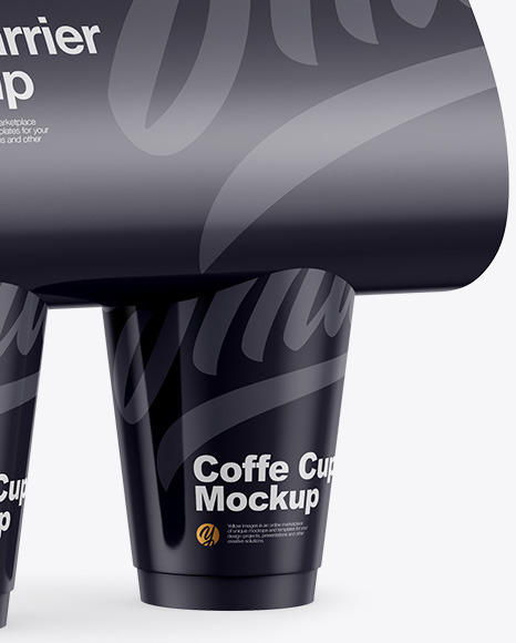 Glossy Coffee Cup Carrier Mockup - Halfside View