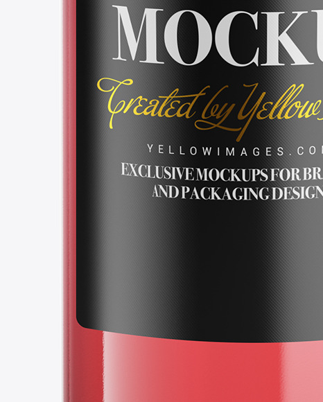 Clear Glass Pink Wine Bottle Mockup