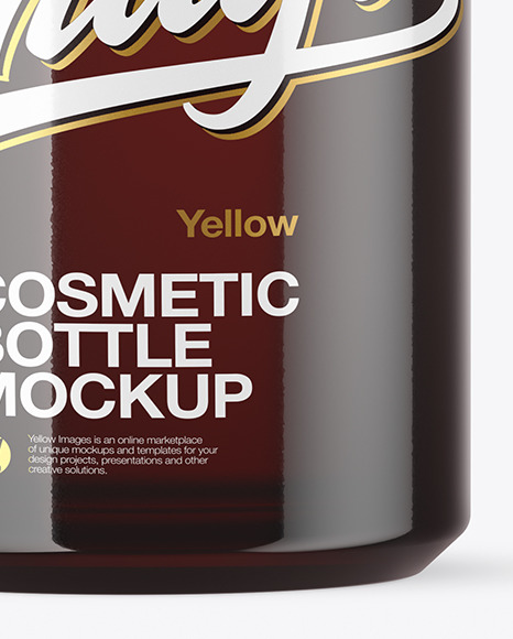 120ml Dark Amber Cosmetic Bottle Mockup