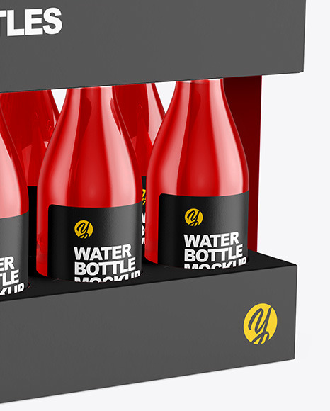 Box with 10 Glass Bottles Mockup