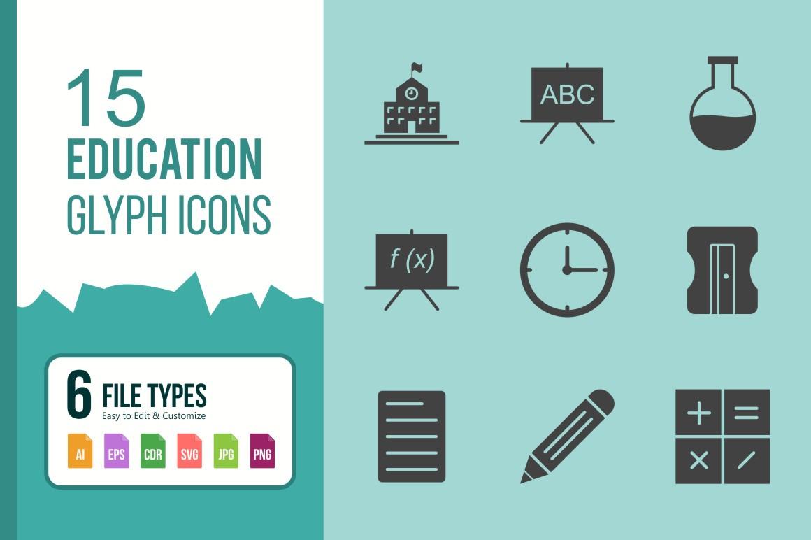 15 Education Glyph Icon Set.