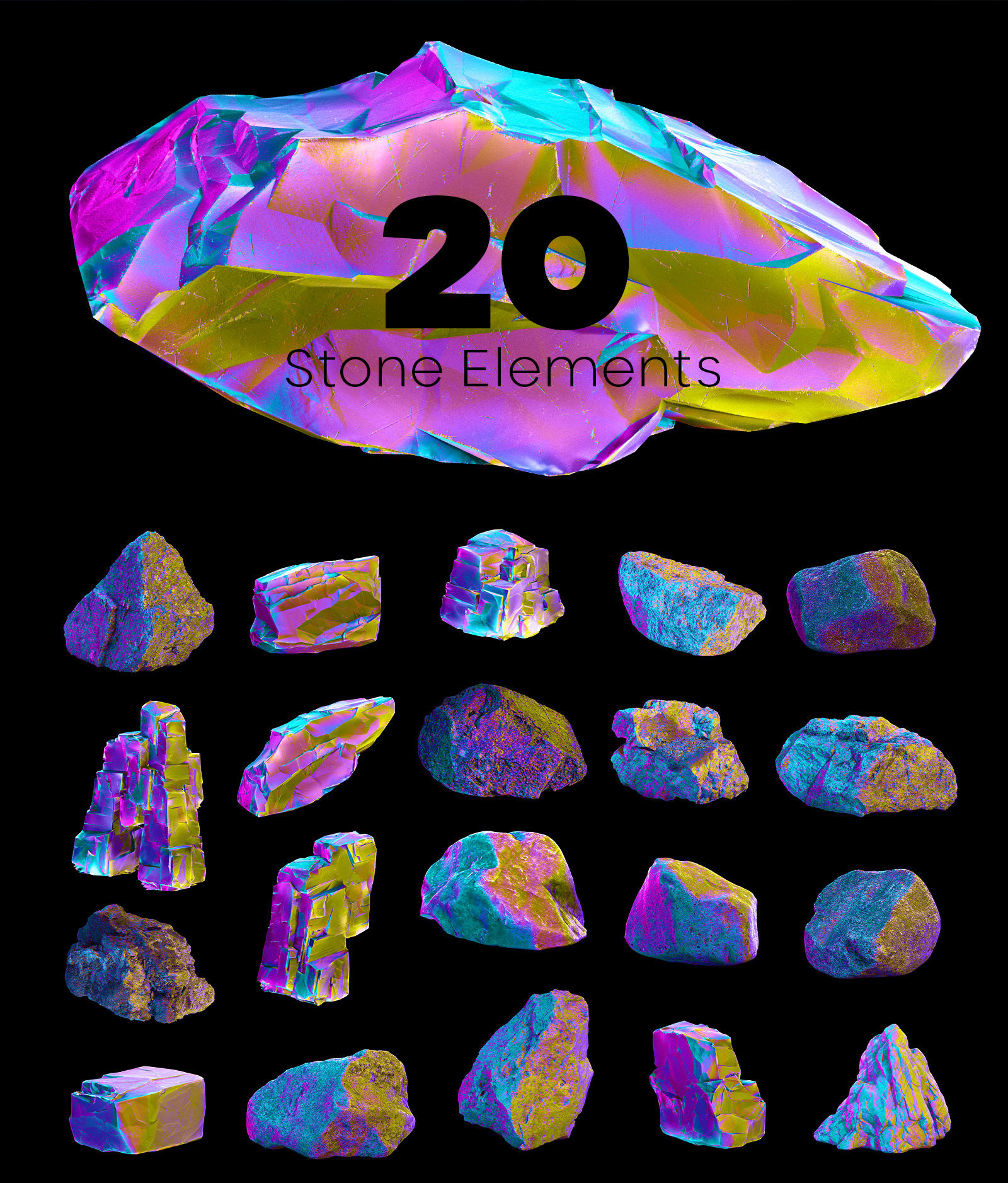 MULTICOLOR plants & stones collection #05