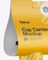 Matte Coffee Cup Carrier Mockup - Hilfside View