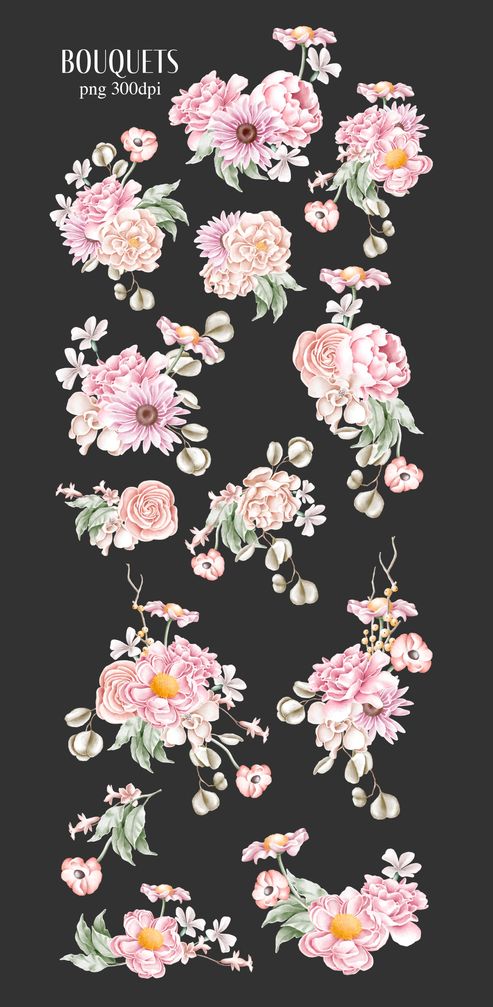 Floral bouquets hand drawn clipart