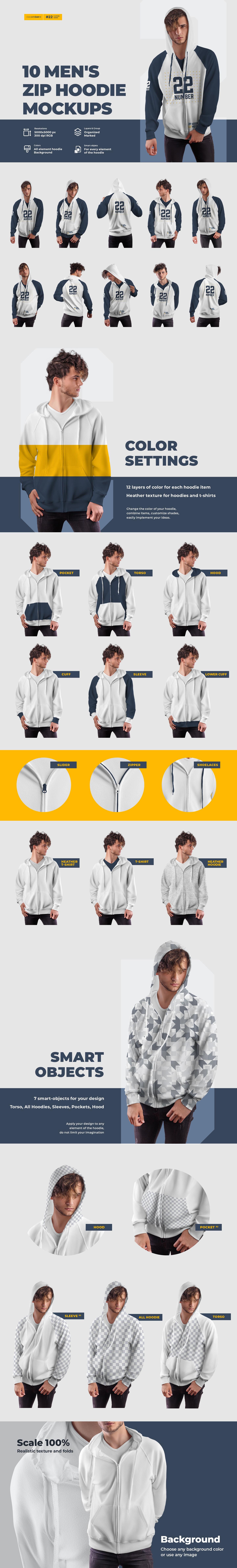 Download 10 Men S Zip Hoodie Mockups In Apparel Mockups On Yellow Images Creative Store