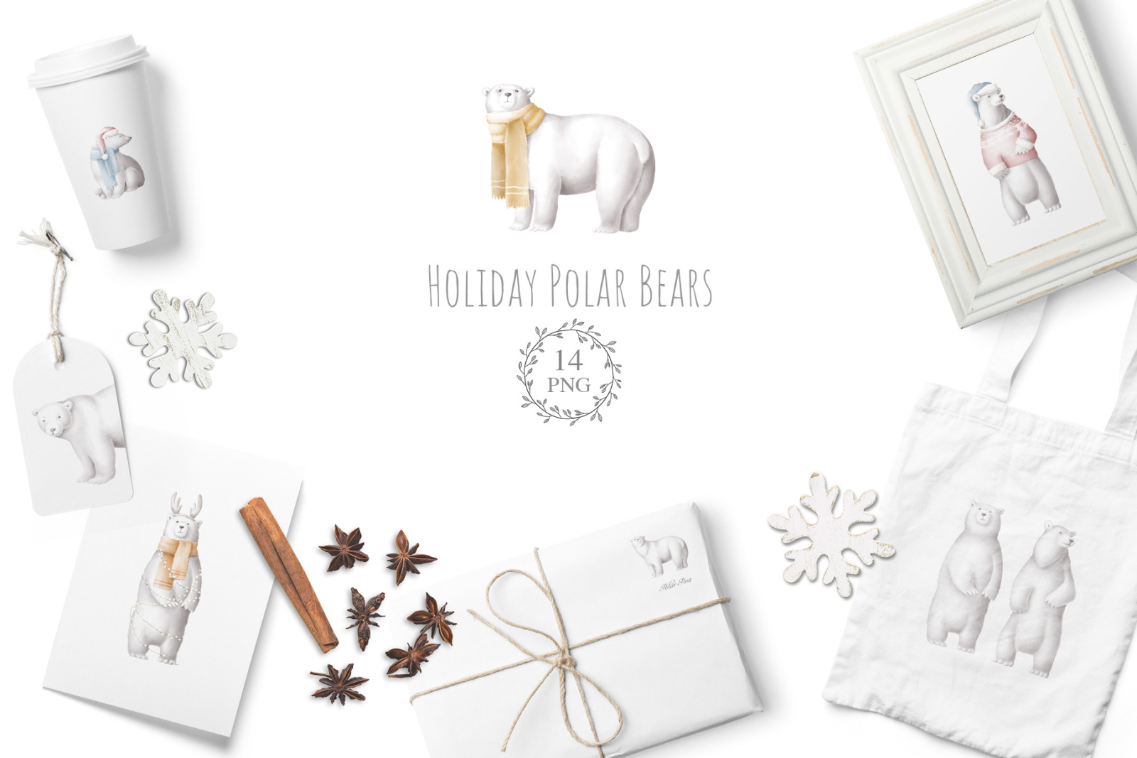 Polar bears png clipart set
