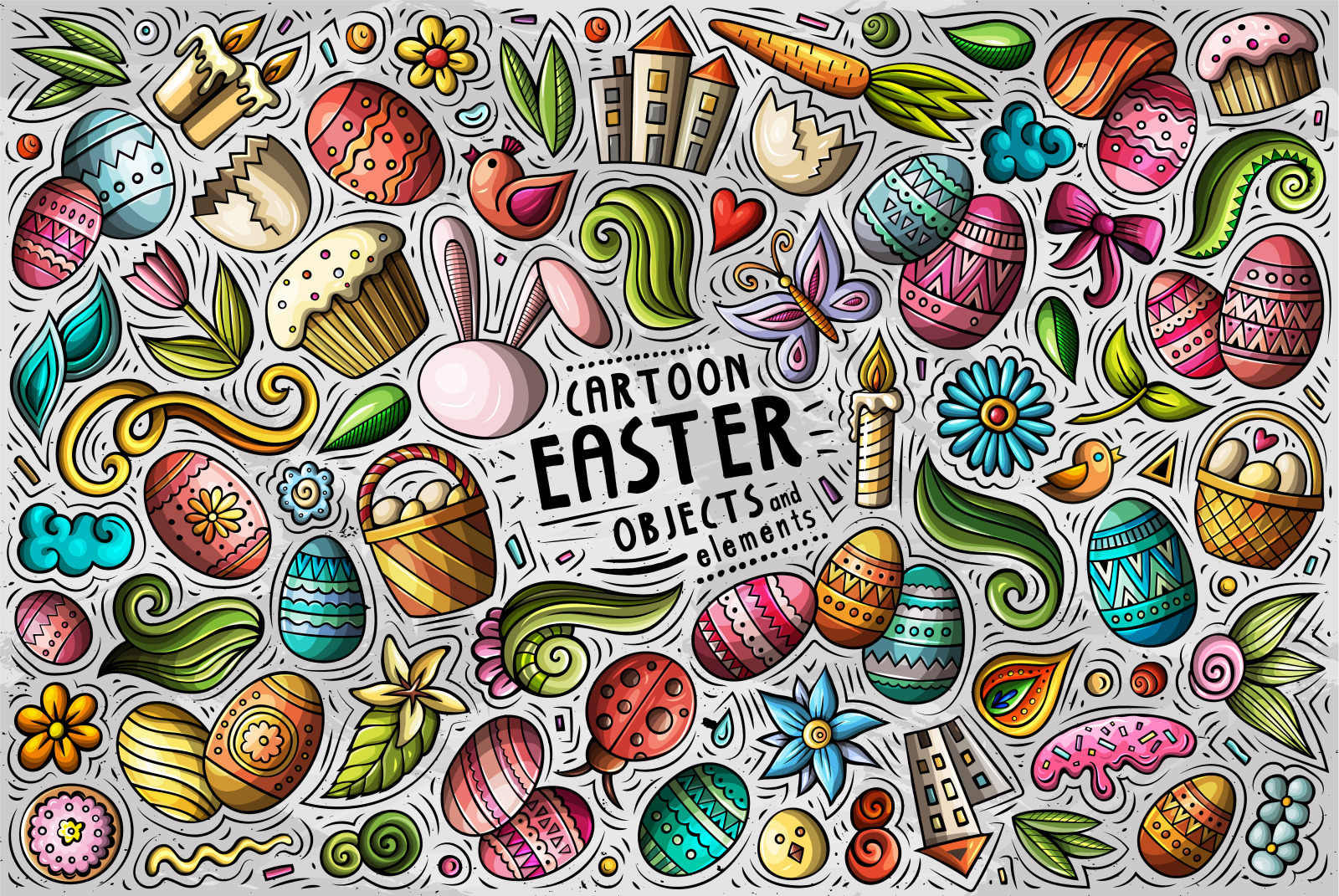 HAPPY EASTER Cartoon Vector Objects Set