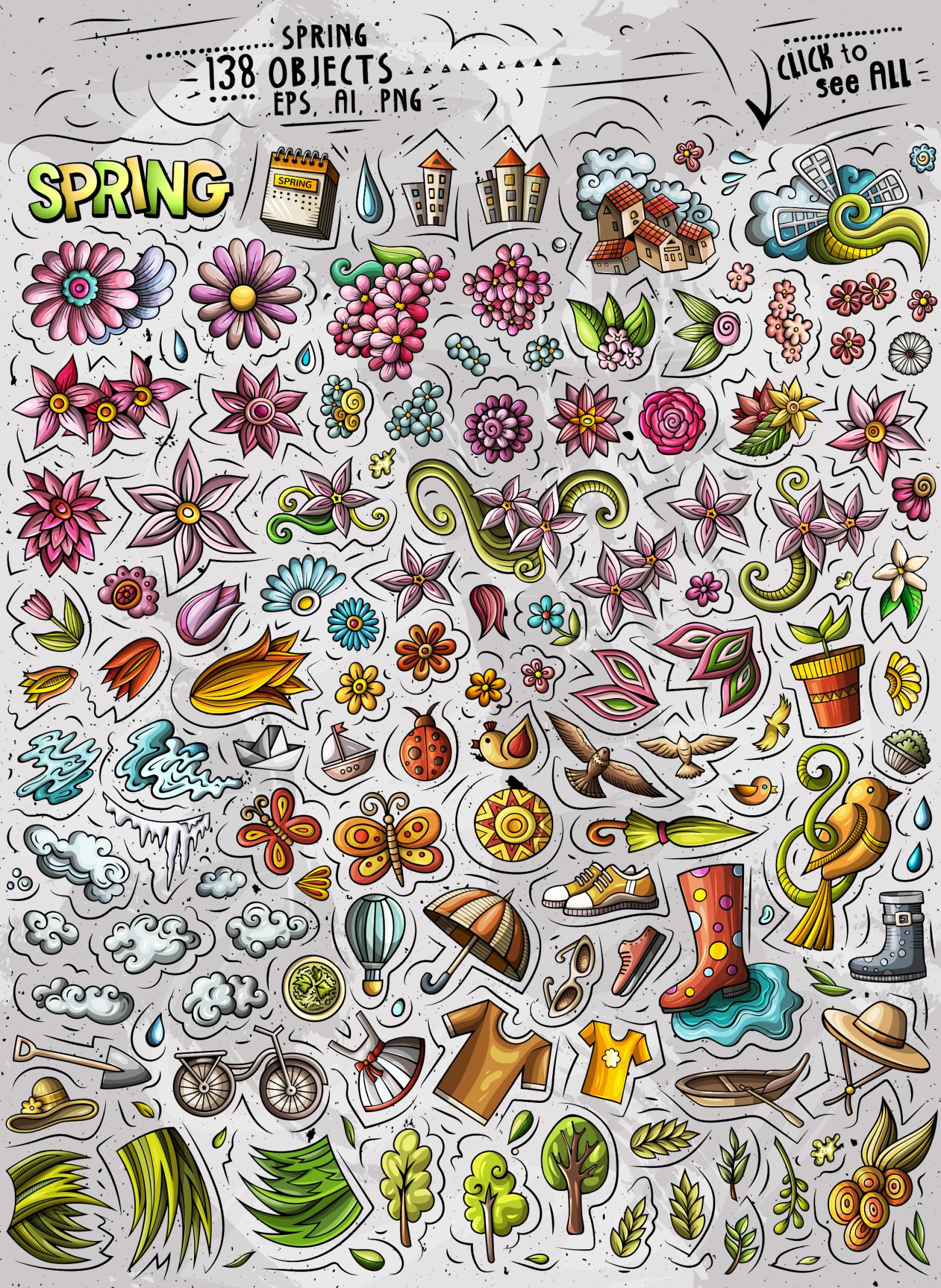 Spring Cartoon Vector Objects Set