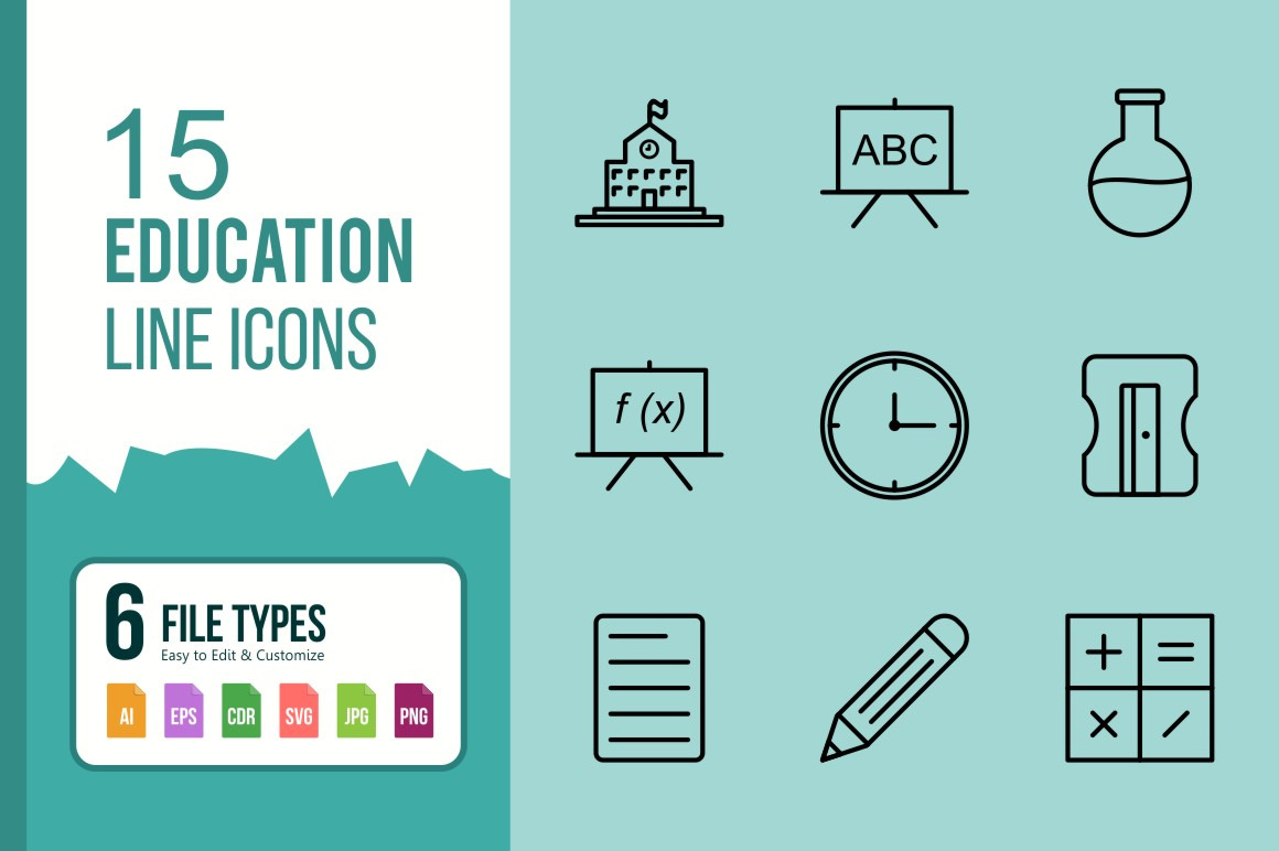 15 Education Line Icons.