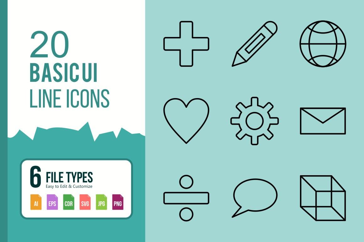 20 Basic UI Line Icons