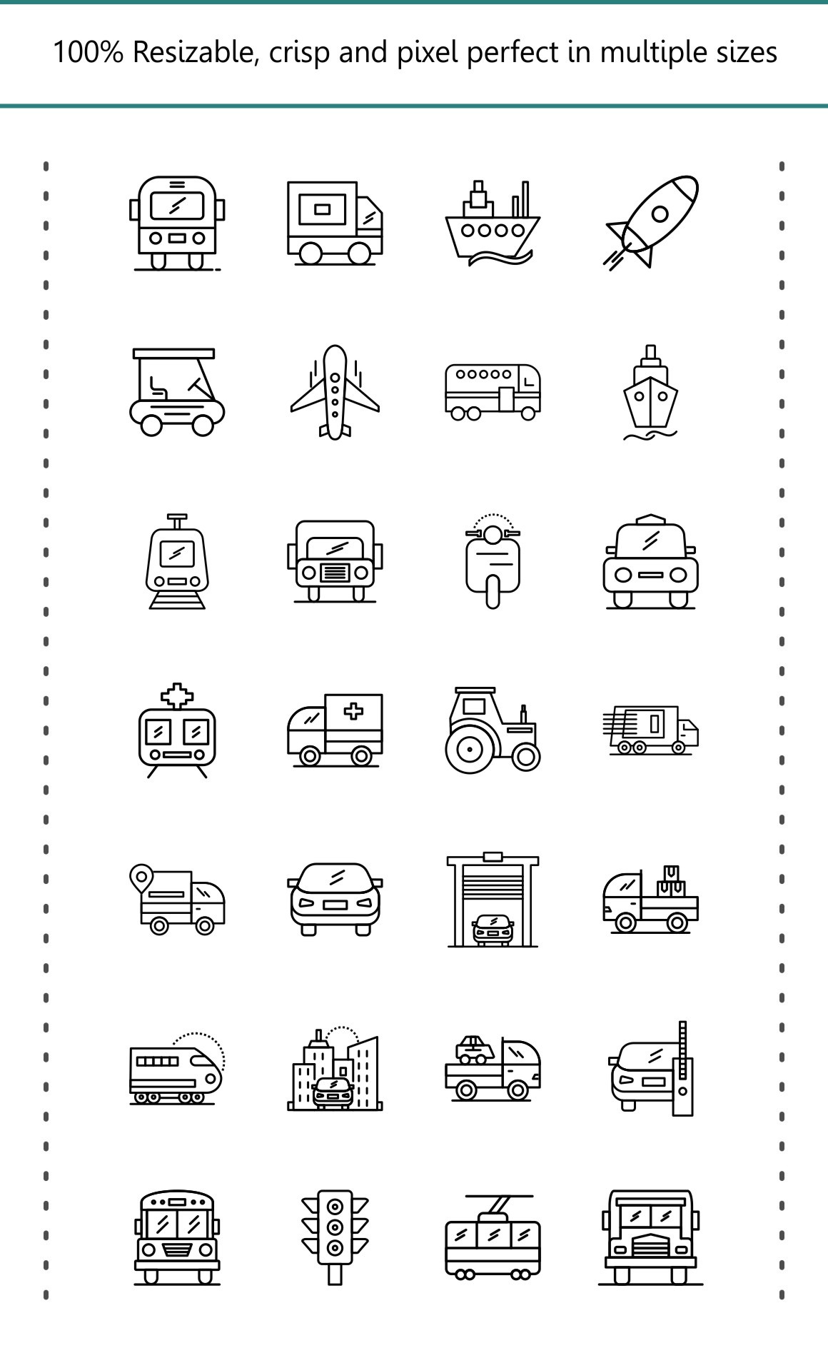 30 Transportation Line Black icons