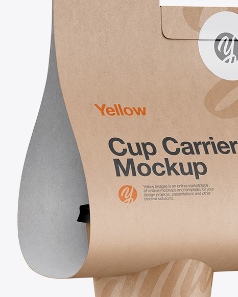 Kraft Coffee Cup Carrier Mockup - Hilfside View