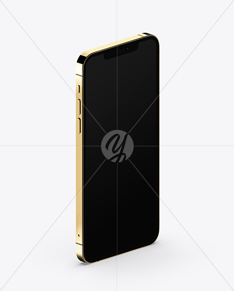 Apple iPhone 12 Pro Max Gold Mockup - Half Side View