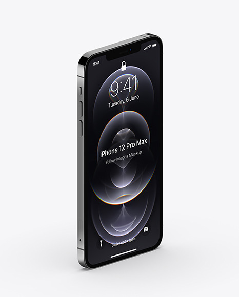Apple iPhone 12 Pro Max Graphite Mockup - Half Side View