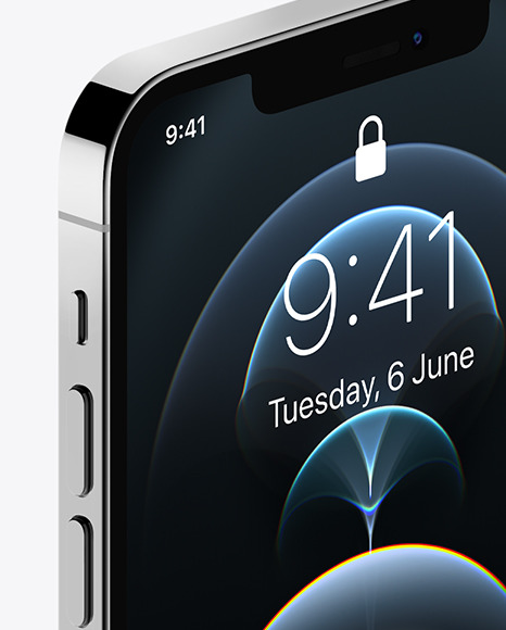 Apple iPhone 12 Pro Max Silver Mockup - Half Side View