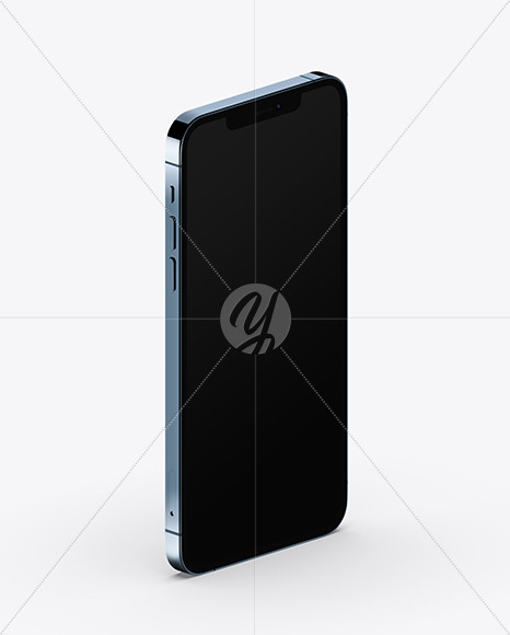 Apple iPhone 12 Pro Max Pacific Blue Mockup - Half Side View