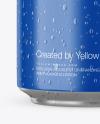 Aluminium Can With Glossy Finish & Water Drops Mockup