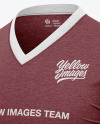 Men's Heather V-Neck T-Shirt Mockup - Front Half Side View